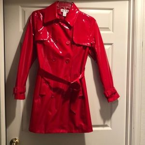Red patten leather Preston and York coat. Size 8.